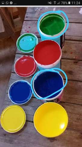 Vendo pinturas de colores preparados interior de 4 litros línea SINTEPLAST