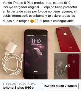 Iphone 8 plus red estado 9/10