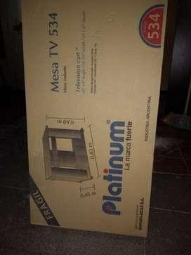 Mesa Tv Platinum en Caja, colorCedro