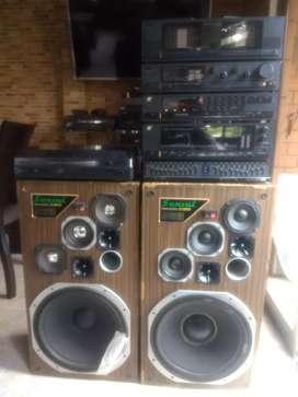 Equipo suansi vintage,consta de 6 módulos Amplificador Stereo, preamplificador,Turner, cassetera, ecualizador, tornamesa