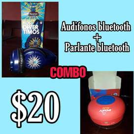 ¡COMBO! Audífonos y parlante Bluetooth