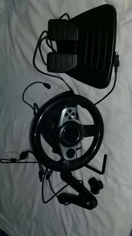 Bolante y acelerador y frenos, de juego de carreras de carro, conexion a la computadora.