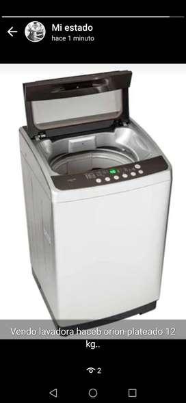 Vendo lavadora hacep orion plateado 12 kg en buen estado