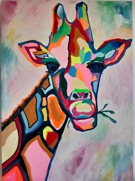 Pintura Moderna Jirafa Psico