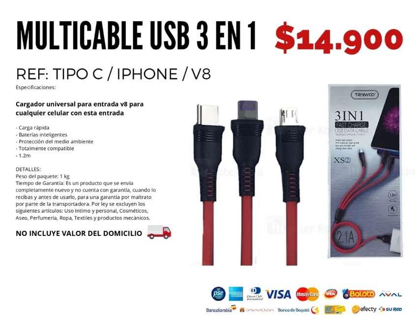 Multi cable USB 3 en 1. Envío gratis