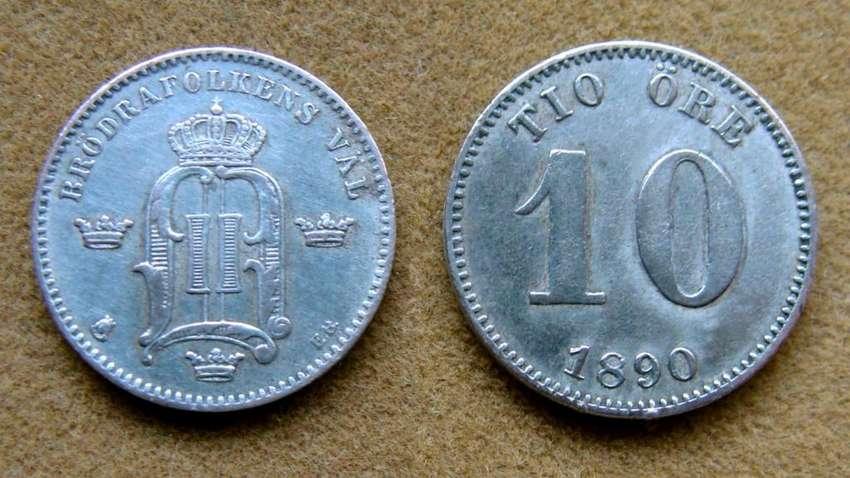 Moneda de 10 öre de plata Suecia 1890 0