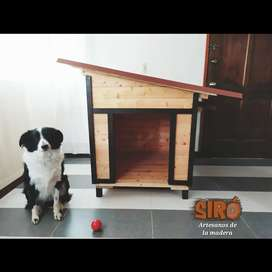 PROMOCIÓN Casa para perro mediano. En madera de pino y con tragaluz lateral