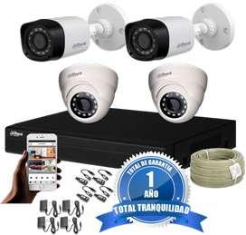CCTV Kit Dahua Dvr Pentahíbrido 4 ch más 4 Cámaras De Seguridad