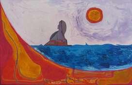 Velero en el mar pintura de Diana Sammartino