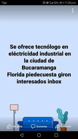 Me ofrezco como tecnólogo en  eléctrico industrial