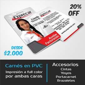 Carnet en PVC impresion a full color por ambas caras, escarapelas, brazaletes, porta carnet, yoyos.