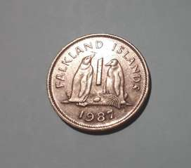 Moneda de Malvinas (ocupantes ingleses), penny de 1987, 150