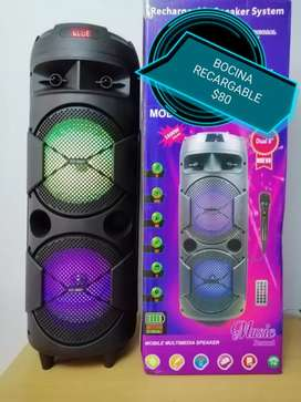 VENDO BOCINA RECARGABLE CON BLUETOOTH LUCES LED MICRÓFONO PARA KARAOKE DOMICILIO 61162137