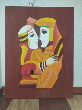 Cuadro pareja egipcios 76 cm x 1.02 cm
