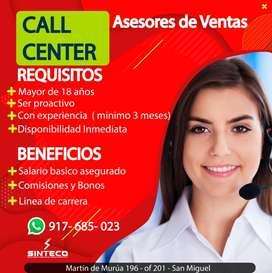 VENDEDOR O VENDEDORA PARA CALL CENTER