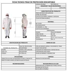 TRAJES DE BIOSEGURIDAD DESCARTABLES AL POR MAYOR Y MENOR