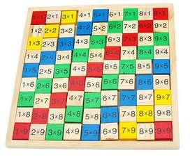 Tabla De Multiplicación De Madera Juego Matemáticas Con Números 91 Bloques de Maderas Colores