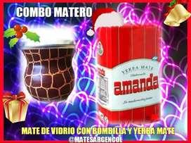COMBO MATERO! MATE DE VIDRIO c\ BOMBILLA c\ YERBA MATE AMANDA 250 GRAMOS !