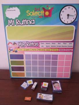 Tablero de rutina para niños, divertido y didáctico en excelente estado