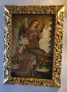 Antiguo Arcangel San Gabriel, oleo sobre lienzo