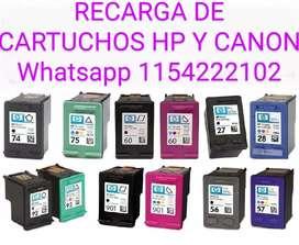 REALIZO RECARGA DE CARTUCHOS HP y CANON