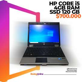 Hp intel core I5 4 gb ram y ssd120gb, cargador