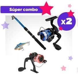 2 Combos caña de pescar de 2.10 mts + (2) carretel  + (2) sedal + (2) señuelo duro