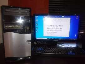 """Computador Core i5, 4gb ram, 500 disco, pantalla 19"""""""