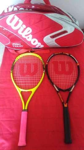Raquetas de tenis Wilson y bolsa para raquetas de tenis