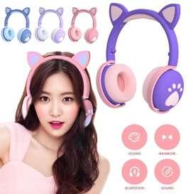 Auriculares Inalámbricos con Bluetooth orejas de gato con luz LED BK1