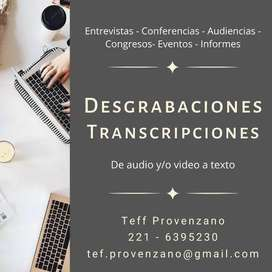 Desgrabación de audio y/o video a texto