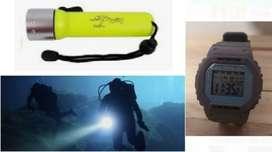 Kit reloj sumergible más linterna buceo
