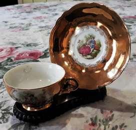 Taza Y Plato De Te Porcelana Decoración Dorado Japon