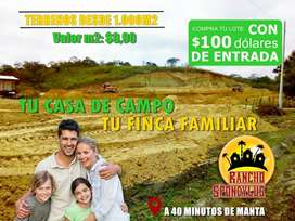 TERRENOS DESDE 1.000 M2 PARA SU CASA DE CAMPO O FINCA FAMILIAR EN MANABI / SD2