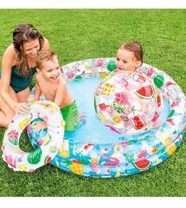Piscina inflable intex + pelota + flotador de 122x25 hawaiana