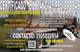 CERTIFICADO TRANSPORTE SUSTANCIAS PELIGROSAS Y PAQUETE CONDU