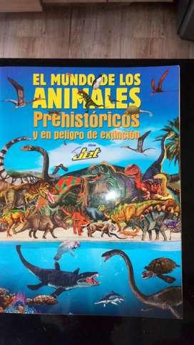 ÁLBUM JET. EL MUNDO DE LOS ANIMALES PREHISTÓRICOS EN PELIGRO DE EXTINCIÓN  con 124 LÁMINAS. EXELENTE ESTADO
