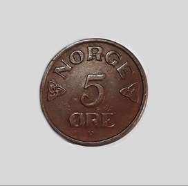 Moneda de Noruega, 1955, 5 ore, XF