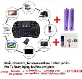 Teclado, ratón inalámbrico, teclado portatil para TV Smart, Laptop, telefono inteligente.