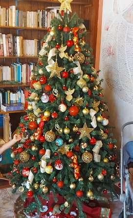 Árbol de navidad 210 cm UN SOLO USO + nacimiento + luces + adornos navideños