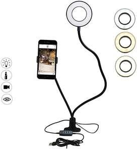 Aro de luz  con Soporte de Manguera de Brazo Flexible para Celular.