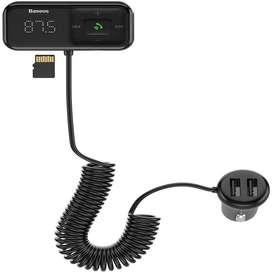 Cargador Transmisor Fm Para Auto Con Función Bluetooth 5.0  Aux/MicroSD Baseus