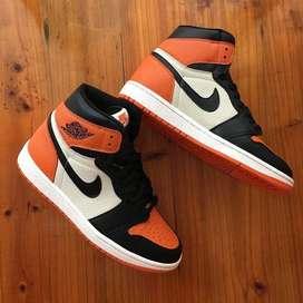 Botas Nike Jordan 1 Cuero Naranja Negro Blanco Envio Gratis