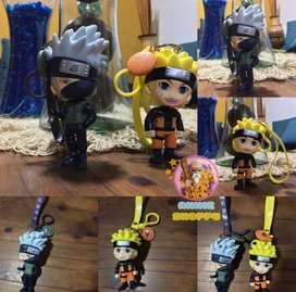 Figuras Naruto y Kakashi con Llavero y Correa