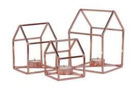 Set de 3 Candelabros Cobre Forma de Casa