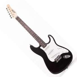 Guitarra Konige LAST32BK Music Box Colombia electrica Stratocaster Negro