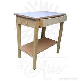 Mesa rectangular en pino con tarima y cajón – Precio COP