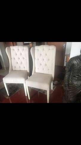 silla capitoneadas blancas