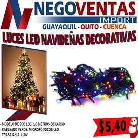 LUCES LINEALES NAVIDEÑAS DE 200 LED DE 10MT EN VARIEDAD DE COLORES, BLANCO,CALIDO Y MULTICOLOR