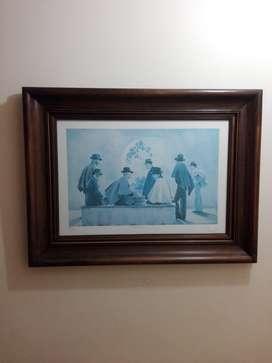 Cuadro de tonos azules de L. Negret